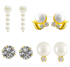 Jpearls Set of Four Pair Earrings Hamper