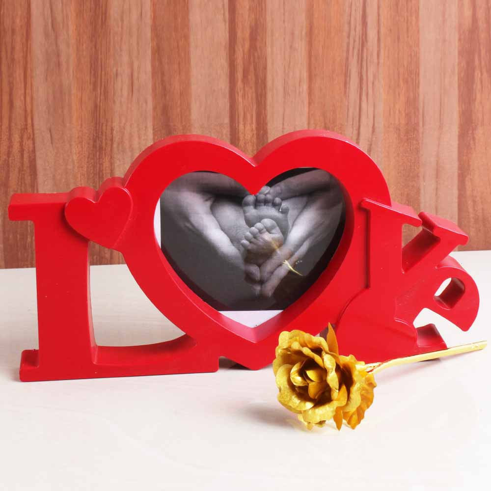 Sweet Nothings-Love Shape Frame for MOM with Golden Rose