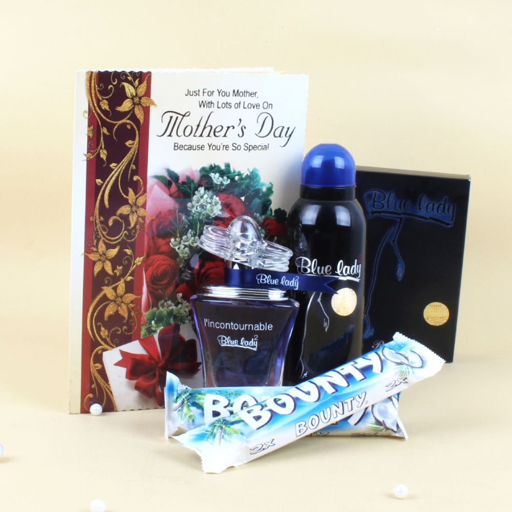 Gift Hampers-Blue Lady Perfume and Bounty Chocolates with Greeting Card