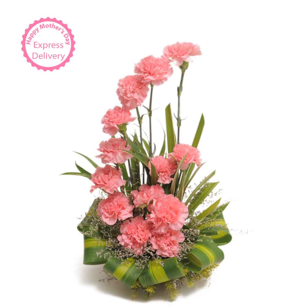Pink Carnations Basket Arrangement