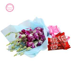 Flowers & Chocolates-Orchids with Chocolates