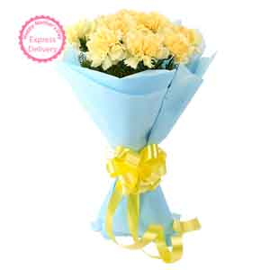 Fresh Flowers-Sundripped Yellow Carnations Bouquet