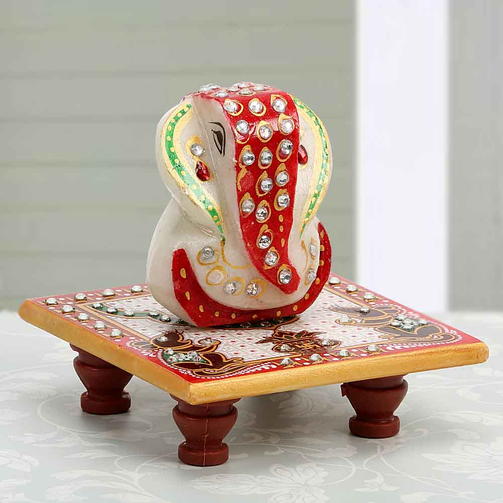 Sweet Nothings-Marble Ganesha On A Chowki