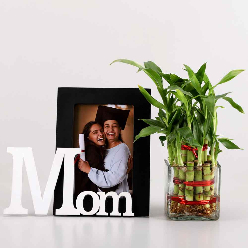 Plants-2 Layer Bamboo & Mom Photo Frame Combo
