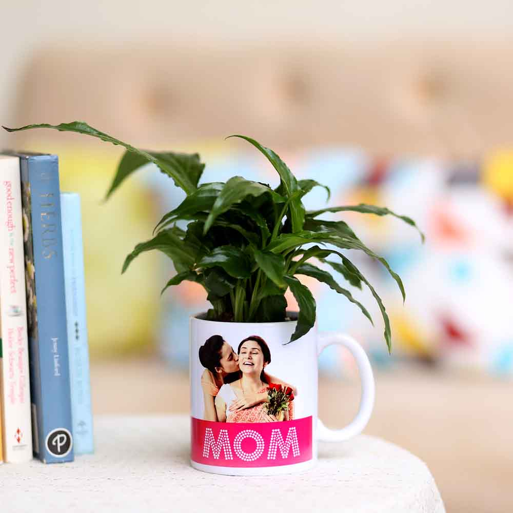 Plants-Peace Lily In Personalised Mug For Mom