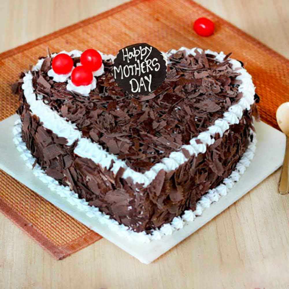 Cakes-Mothers Day Heart Shape Black Forest Cake