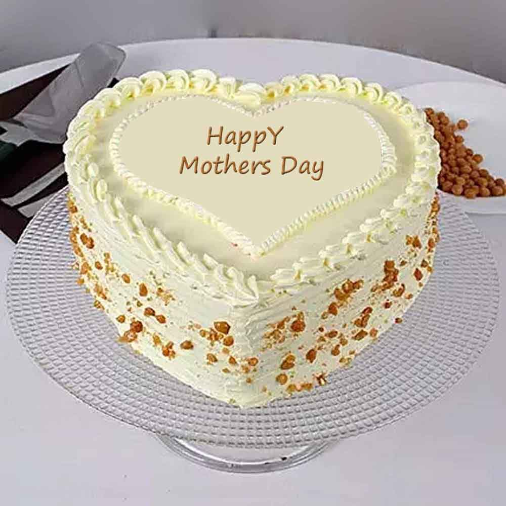Cakes-Mothers Day Heart Shape Butterscotch Cake