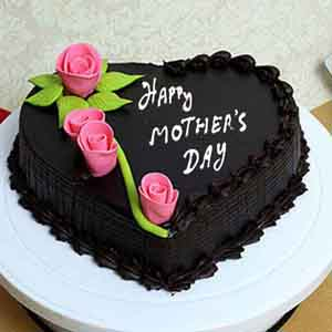 Cakes-Mothers Day Heart Shape Chocolate Cake