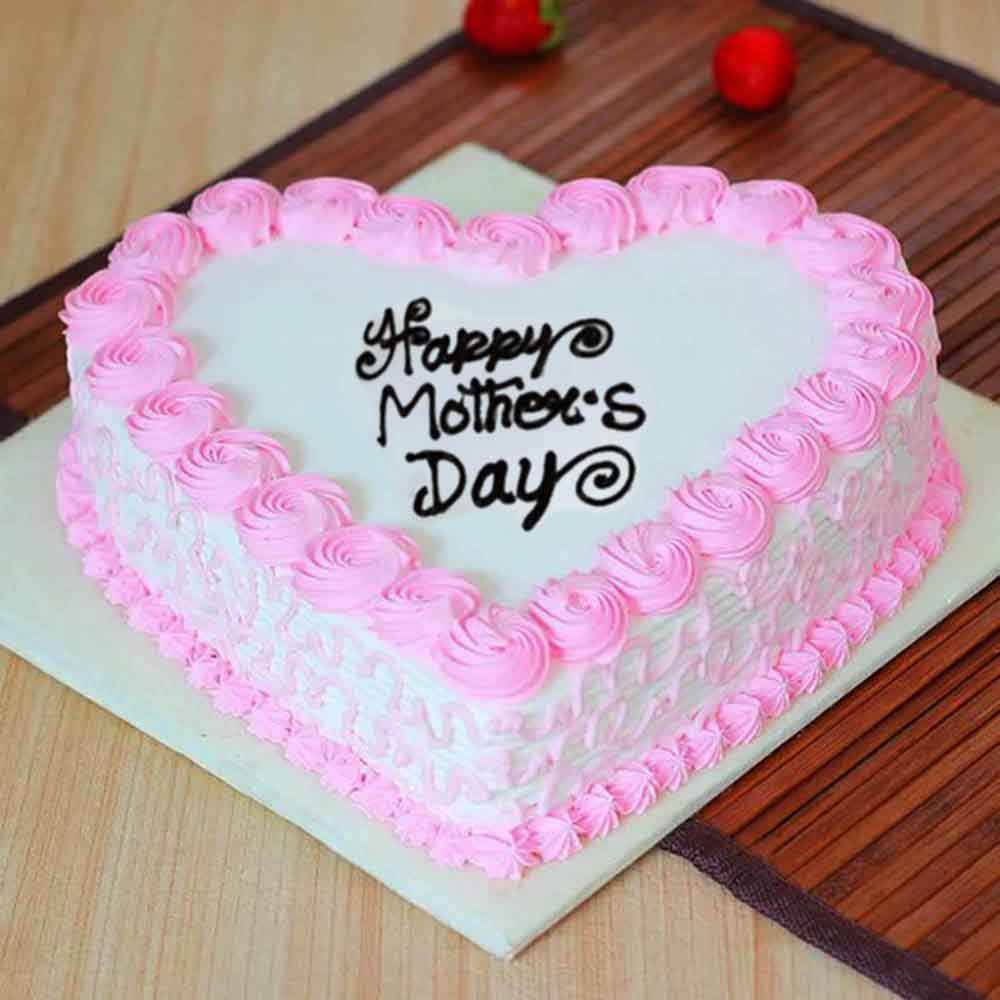 Mothers Day Heart Shape Strawberry Cake