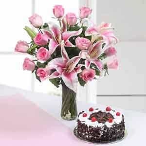 Flowers & Cake-Pink Flowers with Black Forest Cake for Mothers Day Gift