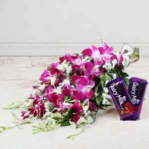 Flowers & Chocolates-Bouquet of Orchid with Fruit N Nut Chocolate for Mom