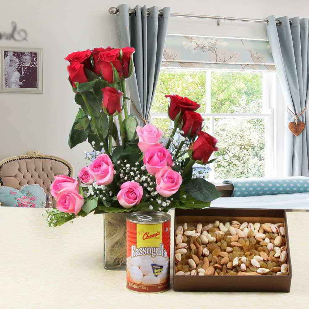 Mix Roses in Glass Vase with Assorted Dry Fruits and Rasgulla for Mom
