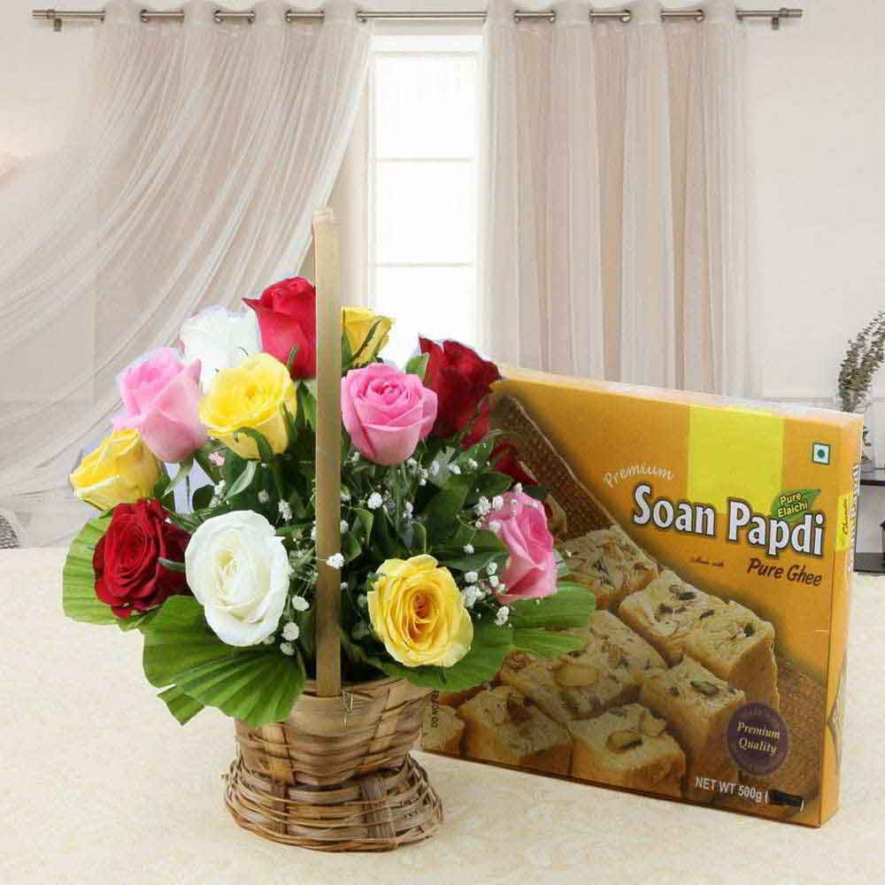 Mothers Day Combo of Soan Papdi Sweet with Colorful Roses Basket Arrangement