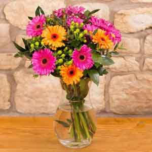 Fresh Flowers-Mothers Day Gift of Ten Mix Gerberas In Vase