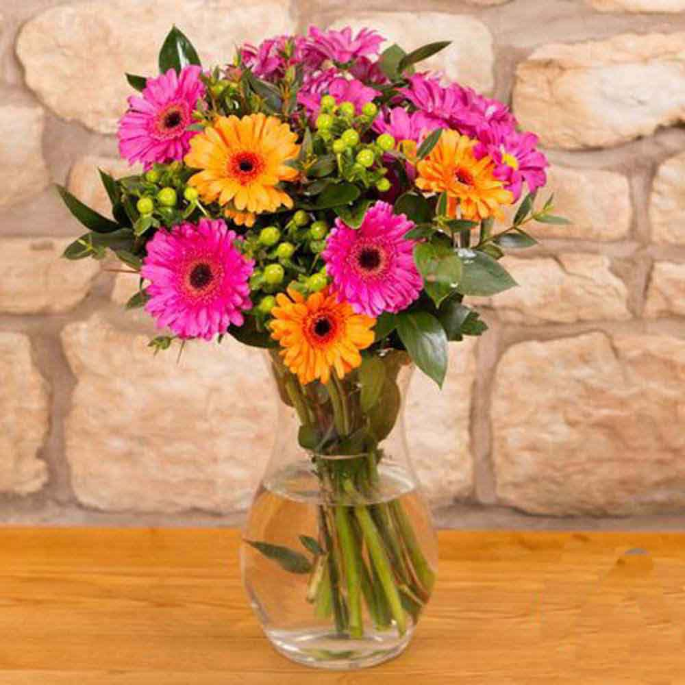 Mothers Day Gift of Ten Mix Gerberas In Vase