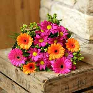 Fresh Flowers-Daises and Gerbera Bouquet for Mom
