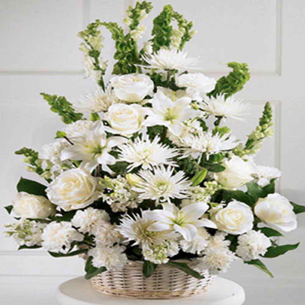 Mothers Day Special White Flowers Basket