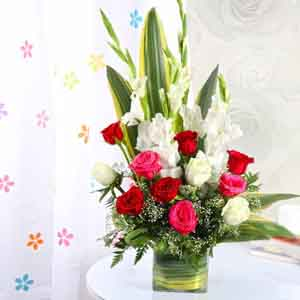 Fresh Flowers-Mothers Day Exotic Vase Arrangement of Roses and Glads