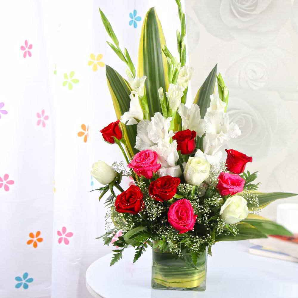 Mothers Day Exotic Vase Arrangement of Roses and Glads