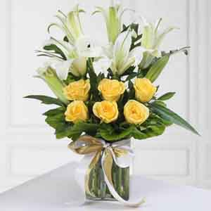 Fresh Flowers-Lilies and Roses in Vase for Mom