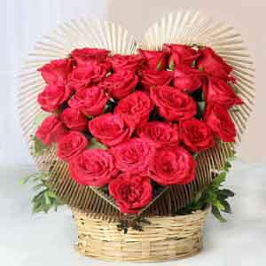 Fresh Flowers-Amazing Mothers Day Red Roses Heart Shape Arrangement