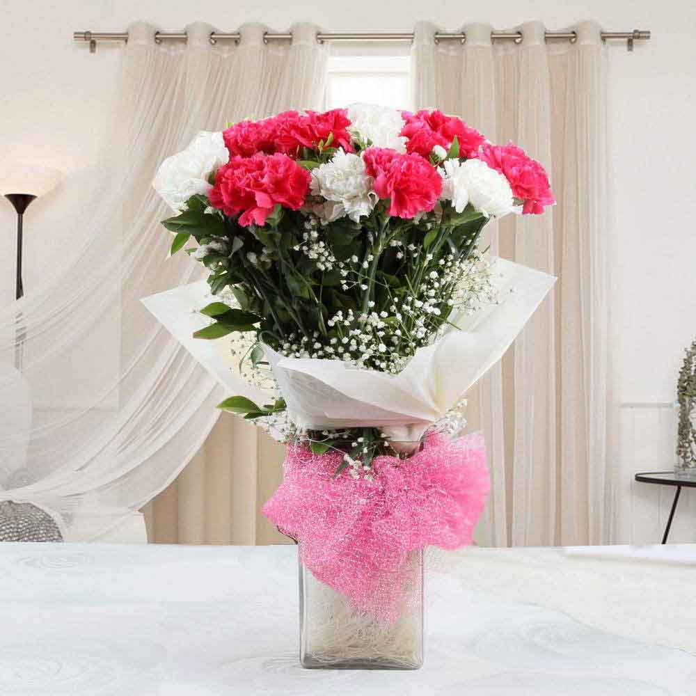 Glass Vase of Mixed Carnations for mom