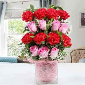 Fresh Flowers-Carnations and Roses Vase for Mummy