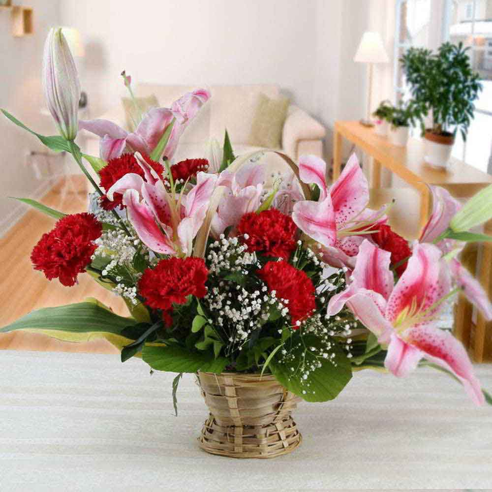 Exotic Lilies and Carnations Arrangement for Mom