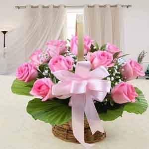 Fresh Flowers-Mothers Day Best Basket Arrangement of Pink Roses