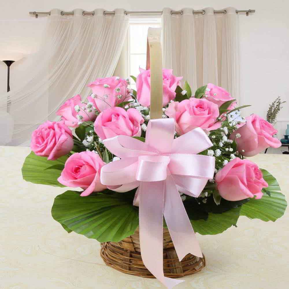 Mothers Day Best Basket Arrangement of Pink Roses