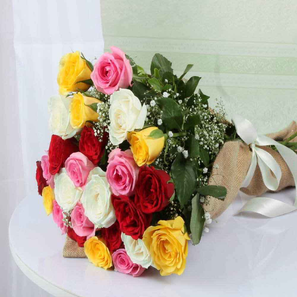 Jute Wrapped Mixed Roses Bouquet for Mom