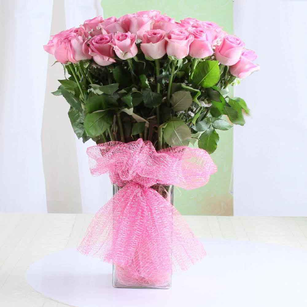 Mothers Day Vase Arrangement of Pink Roses