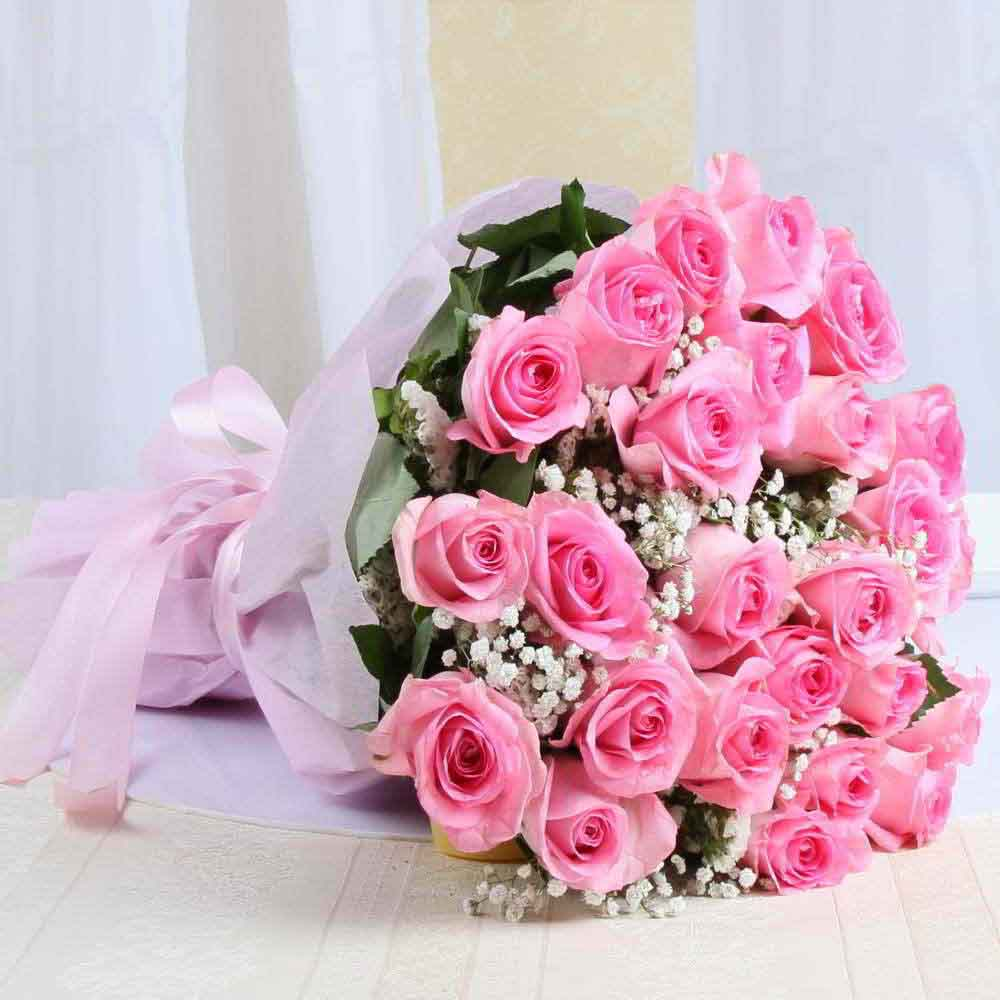 Mothers Day Alluring Pink Roses Bouquet Online