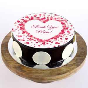 Cakes-Thank You Mom Chocolate Photo Cake 1 Kg