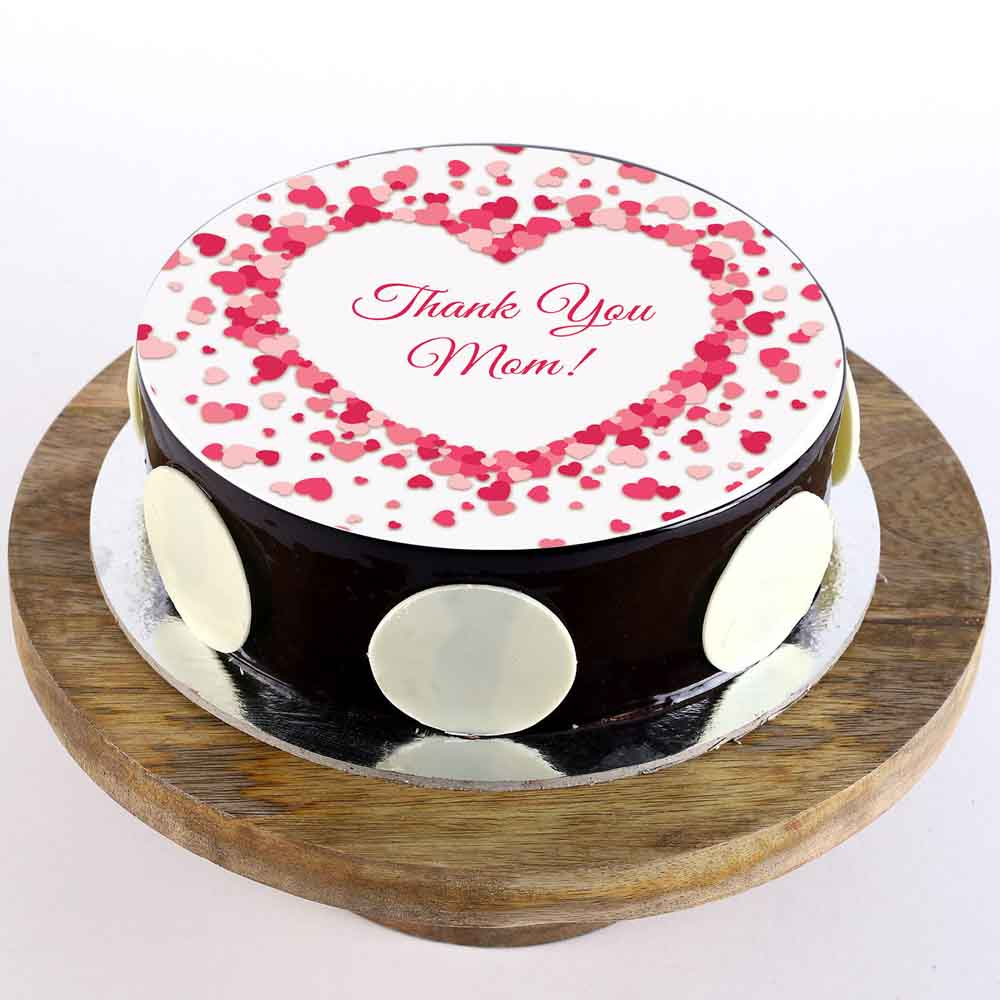 Thank You Mom Chocolate Photo Cake 1 Kg
