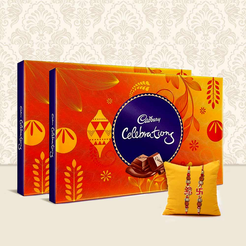Set of 2 Cadbury celebrations with 2 Rakhis