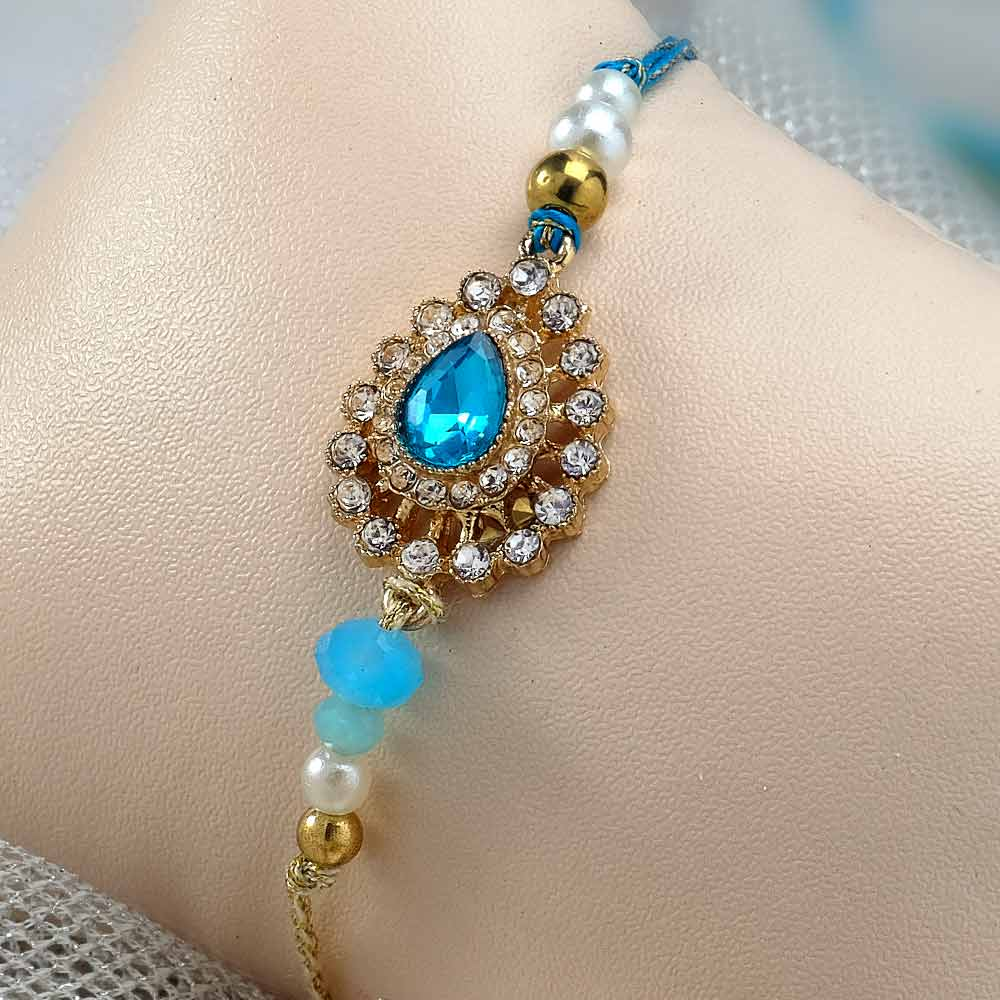 Blue Diamond Stone Rakhi with Kaju Katli