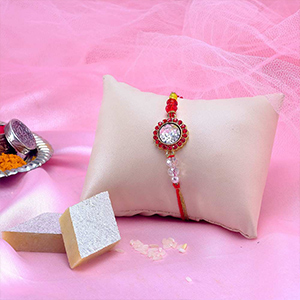 Assorted Mithai Boxes-Red Diamond Stone rakhi with Kaju Katli