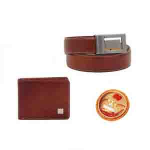 Gifts for Brother-Leather Gents Wallet & Belt set With Rakhi