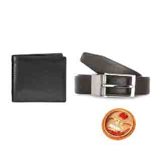 Gifts for Brother-Sufiano Reversible Mens Belt & Nova Leather Wallet With Rakhi