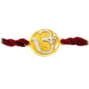 Royal Rakhi Collection-OM - Diamond and Gold Two Tone Rakhi