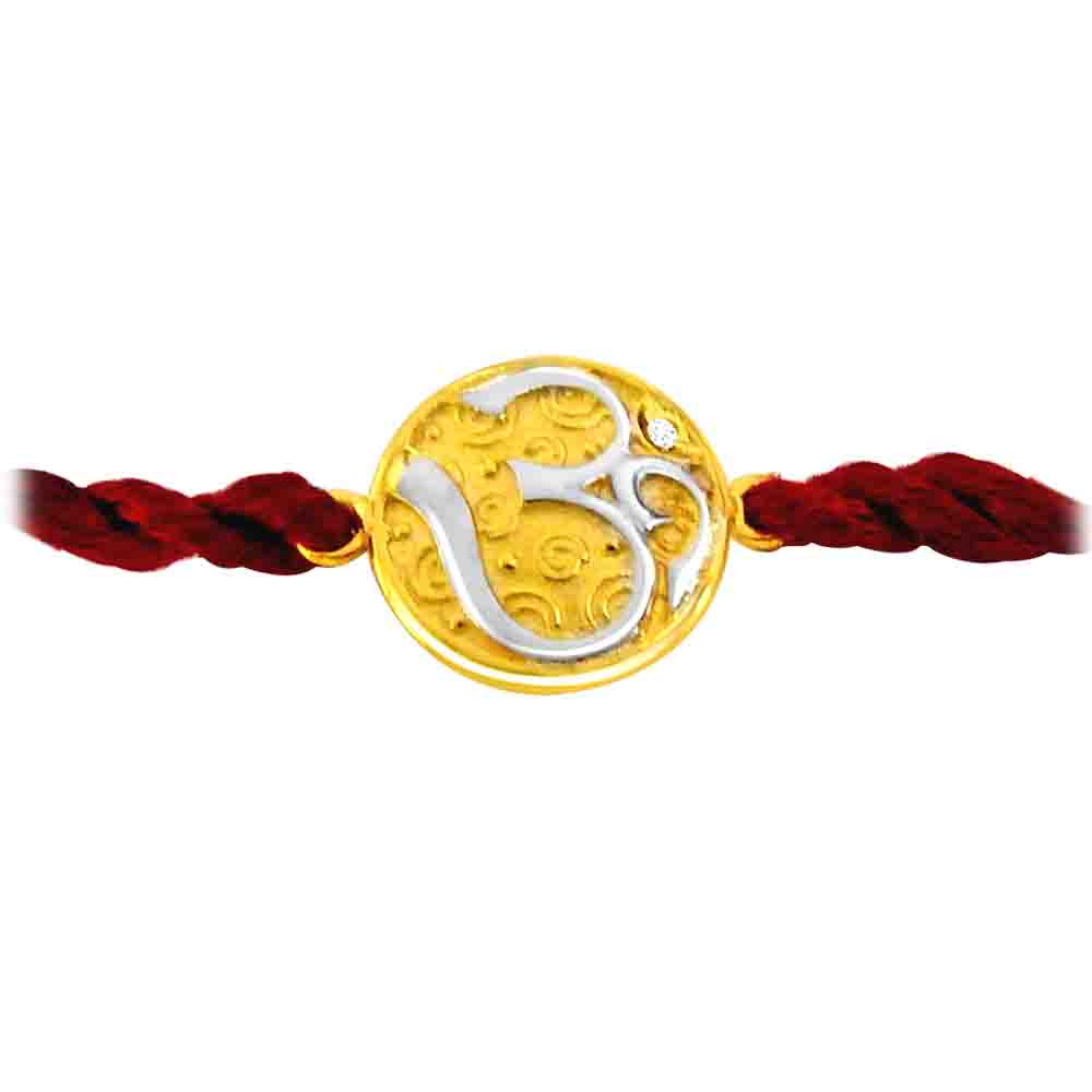OM - Diamond and Gold Two Tone Rakhi