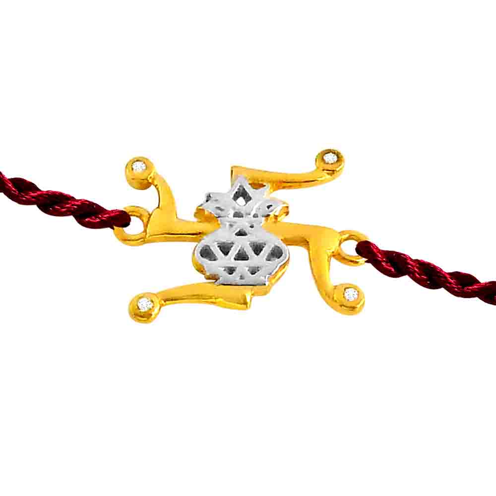 Swastik-Kalash - Diamond and Gold Rakhi