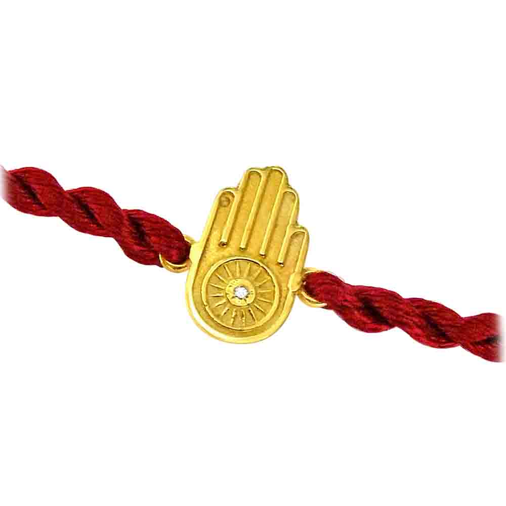 Hamsa Hand - Diamond and Gold Rakhi