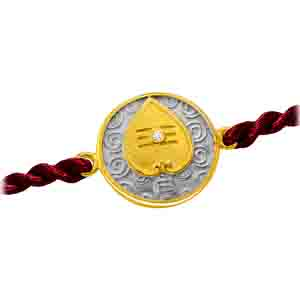 Royal Rakhi Collection-Vel - Diamond and Gold Rakhi