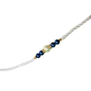 Royal Rakhi Collection-Blue & White Shell Pearl Rakhi for Brothers SNSH3