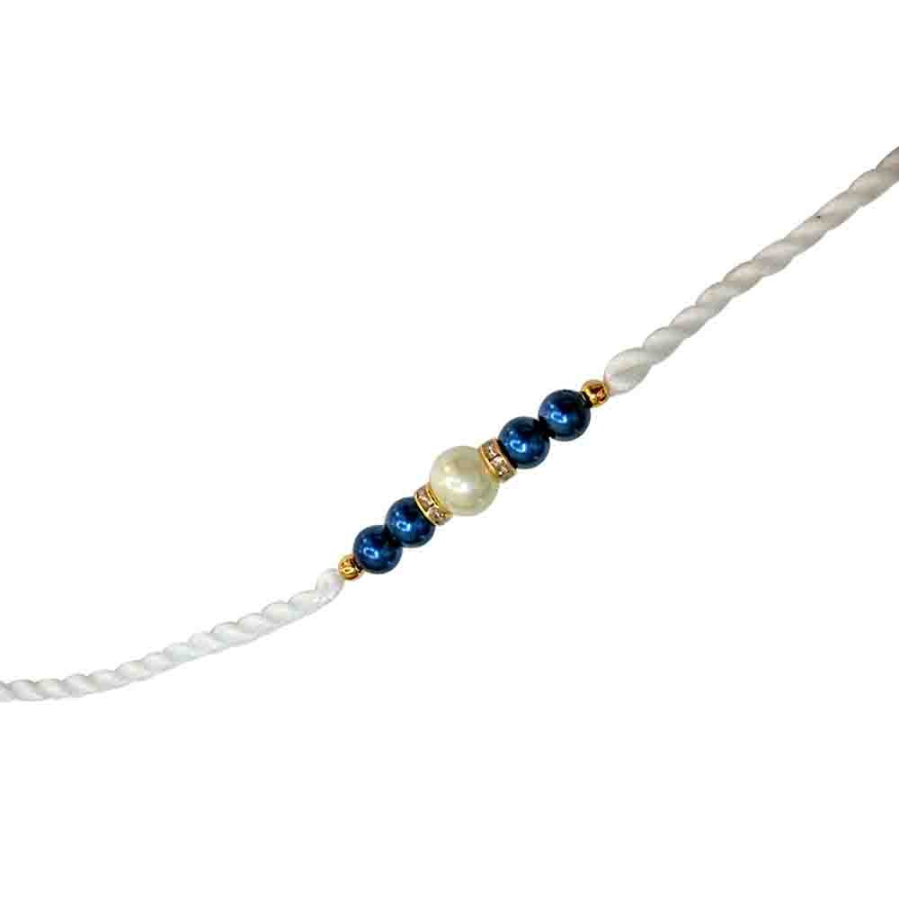 Blue & White Shell Pearl Rakhi for Brothers SNSH3