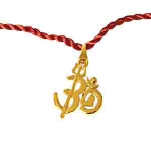 Royal Rakhi Collection-OM Shivay Trishul Gold Plated Religious Rakhi for Brothers (SNSH5)