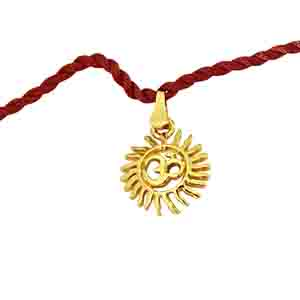 Royal Rakhi Collection-Sun Filled Rays Om Gold Plated Religious Rakhi for Brothers (SNSH7)