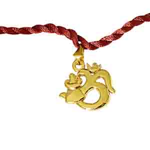 Royal Rakhi Collection-Om Trishul Gold Plated Religious Rakhi for Brothers (SNSH9)